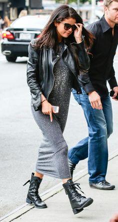 Selena Gomez leather jacket combat boots