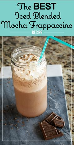 The BEST recipe for an Ice Blended Mocha Frappuccino! Tastes just like Starbucks and just like Coffee Bean and Tea Leaf Blended Mocha Recipe, Blended Coffee Recipes, Mocha Frappe Recipe, Mocha Frappuccino, Frappuccino Recipe, Blended Drinks, Coffee Drink Recipes, Coffee Drinks, Mocha Drink