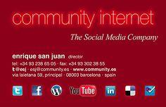 Business card, tarjeta de visita de Enrique San Juan en Community Internet. Hablemos! @esj en Twitter. esj@community.es, http://www.enriquesanjuan.es o http://www.community.es