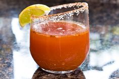 "Tomato Michelada  3 oz tomato or V8 Juice 3-5 drops Tabasco sauce 2 dashes Worcestershire sauce juice of one lemon kosher salt or even better ""Celery Salt"" (for the rim) pinch of red pepper flakes Ice cubes 1 bottle Mexican beer (like Corona or mlodelo or Sol etc.)"