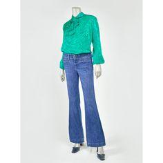 Vintage Ruffled Blouse - 80s Blouse - Teal Green Blouse - Jacquard Satin Blouse - Balloon Sleeve Jabot Ruffled Collar Blouse - Victorian Edwardian Style Blouse - 1980s Secretary Blouse (Large-XL)  #vintage #clothing #blouse #blouses #fashion #style
