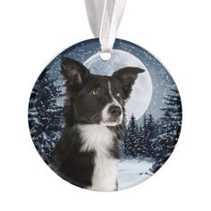 Wini2342ckey Winter Fun Holiday Border Collie Dog with Snowmen Christmas Ornaments Porcelain Ceramic for Christmas Decorations Indoor Home Gifts
