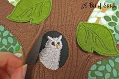 Whoo's hiding in the woods? Baby Busy Book page - fun stuff to make in the hoop!