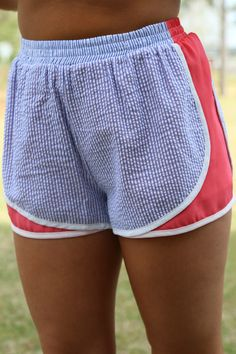 Prep In Your Step Seersucker Shorts: Navy/Coral - Off the Racks Boutique