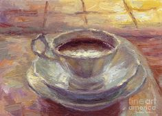 Coffee Cup Still life painting Painting  - Coffee Cup Still life painting Fine Art Print