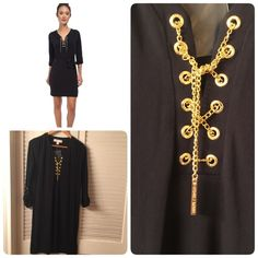 Michael Kors USA black chain tie dress Small Black Michael Kors dress with gold chain tie. The dress does not have a belt. It is really cute and comfortable. New without tags. Michael Kors Dresses