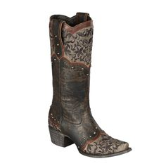 """Lane Boots """"Kimmie"""" Women's Leather Cowboy Boot in Brown and Black with lacembroidery"""