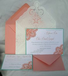 Items similar to Coral Peach n Turquoise Blue Aqua Teal Blue Lace Wedding Invitation Doily Lace Envelope Lace Wedding Invitation Invitation Custom Any Color on Etsy Turquoise Coral Weddings, Coral Wedding Colors, Aqua Wedding, Coral Turquoise, Trendy Wedding, Floral Wedding, Fall Wedding, Dream Wedding, Wedding Inspiration