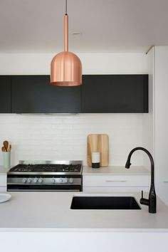 Black and copper and white - Ben Jemma Reno Rumble Scandi Kitchen Best Kitchen Sinks, Kitchen Tiles, New Kitchen, Kitchen Worktops, Kitchen Faucets, Kitchen Cupboards, Sink Faucets, Taps, Kitchen Island