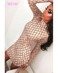 High neckSequin detailSlim fit-cut closely to the bodyMachine Stunning Prom Dresses, Wedding Dresses, High Neck Dress, Sequins, Detail, Mini, Long Sleeve, Champagne, Shopping