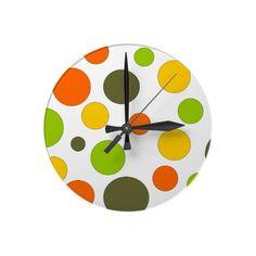 Polka Dots Round Wall Clock