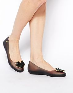 Melissa Colour Feeling Heart Black Flat Shoes