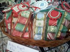 Cover the little Hershey Nuggets bars with pretty papers and add them to a lttle cardstock holder. Then add to a baggie and add a cute sentiment with ribbon.