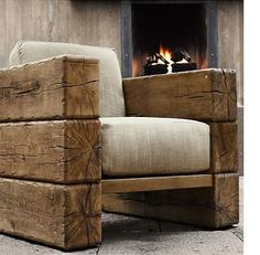 Railway sleeper arm chair. Home-Dzine - Decorating a home in modern rustic style LOVE this chair!