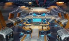 Sci-Fi interior sketch by Real-SonkeS on DeviantArt Spaceship Interior, Spaceship Design, Starship Concept, Futuristic City, Interior Concept, Interior Design, Space Interiors, Sci Fi Ships, Environment Concept Art