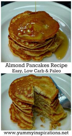 Almond Pancakes Recipe – easy low carb, paleo & keto friendly fluffy pancake recipes with ground almond flour. With the full step by step video tutorial. Almond Meal Pancakes, Low Carb Pancakes, Pancakes Easy, Breakfast Pancakes, Low Carb Breakfast Easy, Breakfast Recipes, Dessert Recipes, Pancake Recipes, Paleo Breakfast