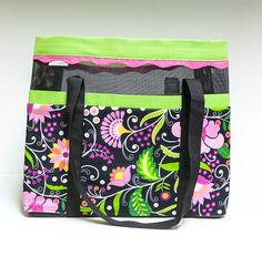 Beach bag, kelly green and pink floral print, vinyl mesh. $34.00, via Etsy.
