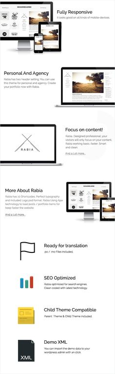 Rabia is an simple portfolio wordpress theme. Designed in a professional manner, so your visitors will only focus on the content. every pixel is smart and creative.   	    Our Customers Say  ...