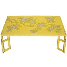 Yellow Lacquer & Hand Painted Sakura Blossom Coffee Table By Baker