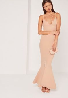 Split Front Strappy Fishtail Maxi Dress Nude