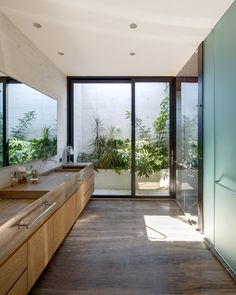 The trio of white concrete blocks that form this Mexico City home have been arranged around a shallow pool and a tree by Taller Hector Barroso Bathroom Layout, Bathroom Interior, Outdoor Bathrooms, Outdoor Showers, Outdoor Kitchens, Outdoor Rooms, Outdoor Living, Internal Courtyard, Concrete Houses