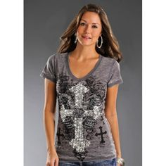 Rock  Roll Cowgirl Mirror Cross Collage Top