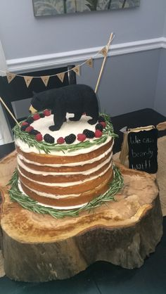 Woodland theme cake for a baby shower