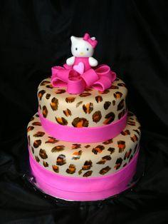 Hello kitty cheetah cake
