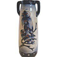 Bohemian Czech Teplitz Amphora Vase Cobalt Owls on a Branch c 1905-1910