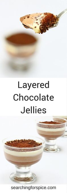 Creamy three layered chocolate jellies with layers of dark, milk and white chocolate. These indulgent chocolate desserts will impress your dinner guests. #chocolate #jelly #desserts