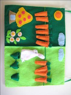 Quiet Book, Bunny Garden, Felt Board for Kindergarten and Preschool