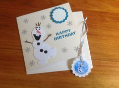 frozen birthday card hand crafted Olaf the by PinkyPromiseBargains, $3.50 I sold this card the day I listed it! Am making more of the same card, just different gift tags.