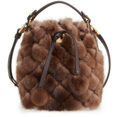 Michael Kors Extra Small Miranda Genuine Mink Fur Bucket Bag - Brown