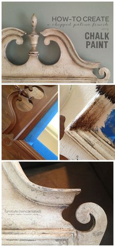 CHIPPED PATINA FINISH :: COMPLETE step-by-step tutorial with fantastic pictures and instructions. You'll need ASCP in Old White, French Linen plus her clear wax and dark wax. You'll also need a hairdryer, coarse sandpaper, paintbrushes and lint-free cloths (old t-shirts). AMAZING! This site is a FANTASTIC RESOURCE for these kinds of finishes & DIY projects! | #furniturereincarnated
