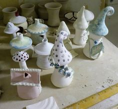 Painted/glazed fairy garden homes....soon to go in kiln!