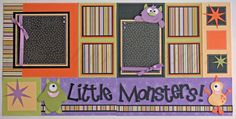 scrapbook pages -  Little Monsters- Halloween- 12x12 premade scrapbook pages