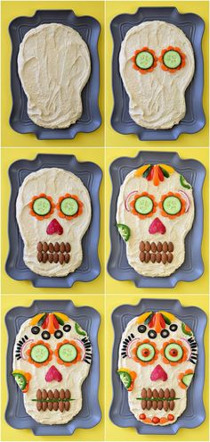 This healthy appetizer idea of Dia de los Muertos Hummus Dip is dressed to impress your guests for your next Halloween party! This healthy appetizer idea of Dia de los Muertos Hummus Dip is dressed to impress your guests for your next Halloween party! Halloween Snacks, Entree Halloween, Comida De Halloween Ideas, Halloween Party, Mexican Halloween, Halloween Potluck Ideas, Healthy Halloween Treats, Spooky Treats, Spooky Halloween
