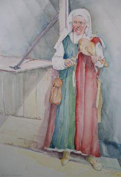 Archeon, archeologisch themapark, Middeleeuwen, vrouw met muziekinstrument - aquarel door T. Hiem.