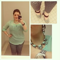 #ChubbyChique 11-26-2014 #ootd Navy and mint crop pants by #Merona from #Target #TargetStyle , turquoise basic cami and mint sequined tunic by #ExpressFashion , blue and brown Mary Janes by #ShoeDazzle , mint necklace and earrings by #YourBijouxBoxStyle , watch by #AnneKlein