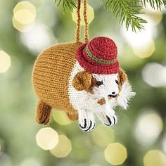Alpaca Guinea Pig with Hat Ornament