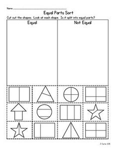 Build student's concept of equal/unequal parts prior to beginning a study of fractions. 3rd Grade Fractions, Teaching Fractions, Second Grade Math, Math Fractions, Teaching Math, Fractions Of Shapes, Grade 2, Third Grade, Maths