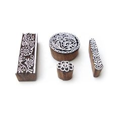 Round and Border Designer Motif Block Print Wood Stamps (Set of 4) #RoyalKraft…
