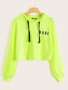 To find out about the Neon Lime Letter Graphic Drawstring Hoodie at SHEIN, part of our latest Sweatshirts ready to shop online today! Girls Fashion Clothes, Teen Fashion Outfits, Fashion Mode, Outfits For Teens, Clothes For Women, Punk Fashion, Lolita Fashion, Fashion Styles, Fashion Dresses