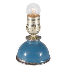 Vintage Blue Oil Can Mini Lamp