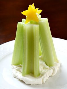 Make a quick and easy Christmas snack with celery and cream cheese.
