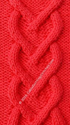 Cable Knitting Stitches » Cable panel 11 » Hearts