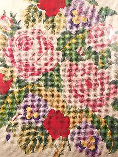 Needlepoint Victorian Roses Pansies Pillow Kit Vintage Columbia Minerva MPN 1943