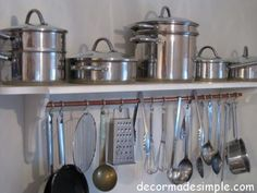 kitchen pot and utensil rack -- love the copper tubing