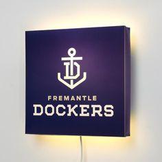 AFL Fremantle Dockers FC Wall Lamp #walllamps Sports Logos, Awesome Things, Man Cave, Wall, Room Ideas, Football, Soccer, Futbol, American Football