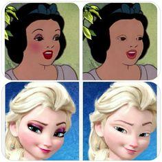 Les princesse Disney sans maquillage .....